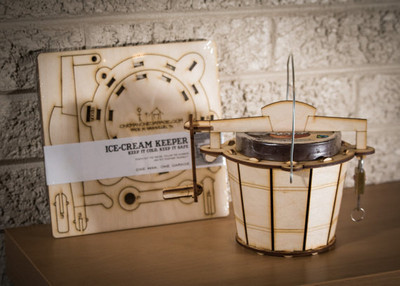Ice Cream Keeper! A Wooden pint-size koozie KIT, made to look like a vintage hand-crank ice cream maker with a padlock to keep cold and safe.