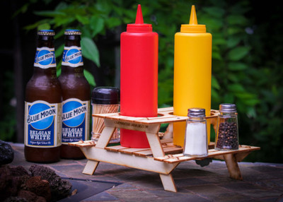 Beer holder and condiment rack, a mini 3D Picnic Table kit. Useful centerpiece and hysterical coaster for drinks!
