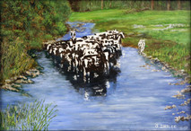 "Inslee, George - ""Holsteins Cooling"" unframed"