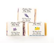 Jonathan Kent Goats Milk Soap (3 Bar Sampler) - Victorian Garden: Lavender, Silky Yellow Rose, Lilac