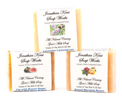 Jonathan Kent Goats Milk Soap Bars - MOUNTAIN RAIN 3 Bar Sampler Park, Saturated with 100% Creamy Farm Fresh Goats Milk, NO WATER, with Shea Butter. Mountain Rain, Wild Wind, Patchouli Lavender. Luxurious, Lingering Fragrance
