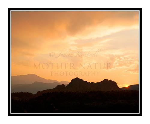 Waldo Canyon Fire Smokey Sunset over Garden of the Gods in Colorado Springs, Colorado 2016