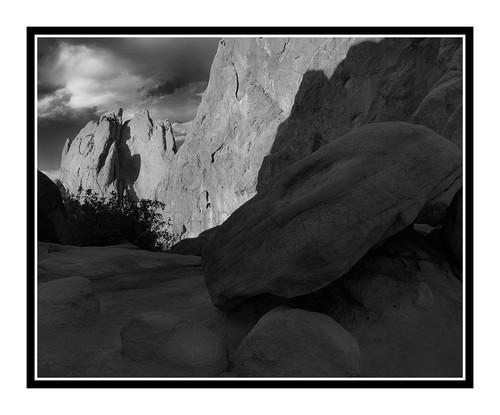 West Face of North Gateway Rock in Garden of the Gods in Colorado Springs, Colorado 2422 B&W