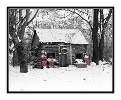 Historic Cabin in Winter Snow, Michigan 650