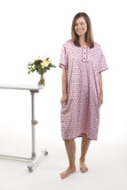 No open back gowns here - the Gorgeous Hospital Gown Pink with polka dots has silk trimming and includes our signature full back.