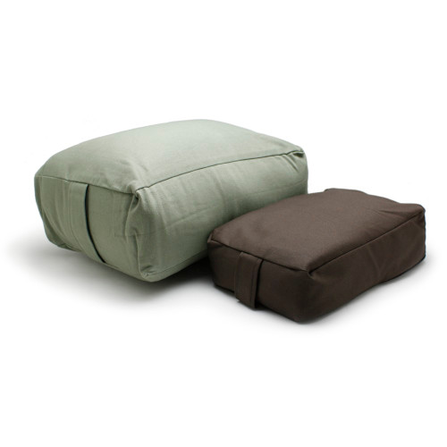 Kapok Rectangular Meditation Cushion (Left) and Buckwheat Hull Meditation Cushion (Right)