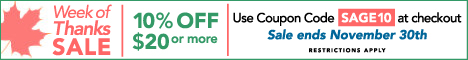 Week of Thanks Sale, Coupon Code SAGE10