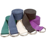 Cotton Yoga Straps in Green, Blue, Natural, Black, and Purple
