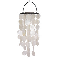 White Solar Light Capiz Wind Chime