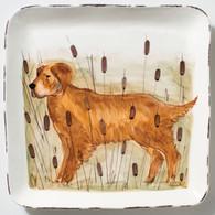 Vietri Wildlife Golden Retriever Hunting Dog Large Square Platter