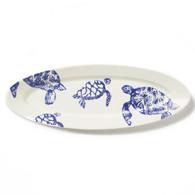 Vietri Costiera Blue Turtle Narrow Oval Platter