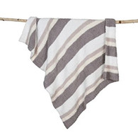 Barefoot Dreams CozyChic Multi Stripe Stroller Blanket - white/stone/cream/dove