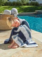 Barefoot Dreams CozyChic Multi Stripe Stroller Blanket - white/Dusk/Blue/Marine