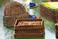 Set of 6 Sq. woven Coasters w/case