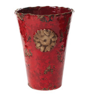 Rustic Garden Terrace Red Vase with Flower