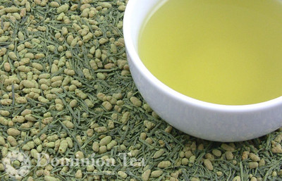 Matcha Infused Genmaicha Dry Leaf and Liquor