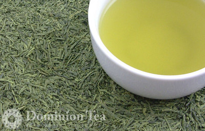 Matcha Infused Sencha Dry Leaf and Liquor