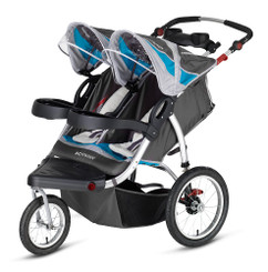 Schwinn Turismo Swivel Wheel Double Jogger - Blue/Gray