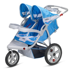 Safari Swivel Wheel Double Jogger - Blue