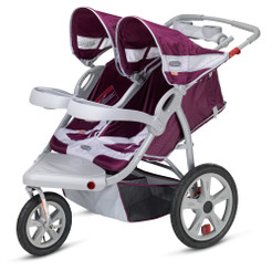 Safari Swivel Wheel Double Jogger - Wine