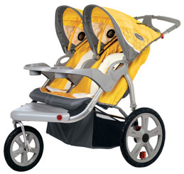 Grand Safari Swivel Wheel Double Jogger - Yellow
