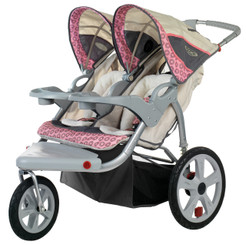 Grand Safari Swivel Wheel Double Jogger - Pink