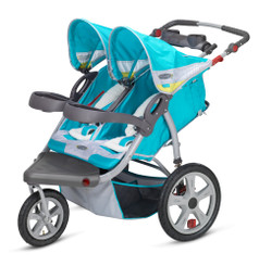 Grand Safari Swivel Wheel Double Jogger - Teal