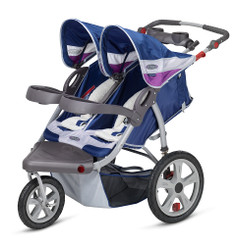Grand Safari Swivel Wheel Double Jogger - Blue