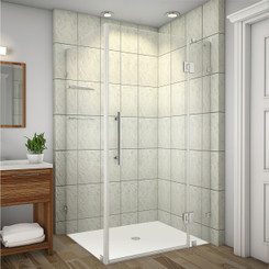 Shown with Brushed Stainless Steel Finish Hardware; Clear Glass
