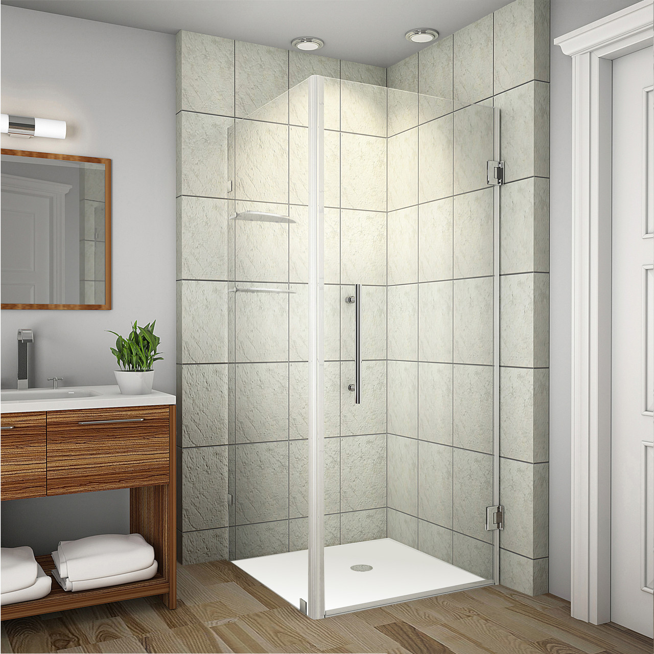 Aston Aquadica GS 32x32 Corner Frameless Square Shower Enclosure SEN993 CH 32