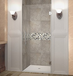 Shown with Chrome Finish Hardware;  Clear Glass