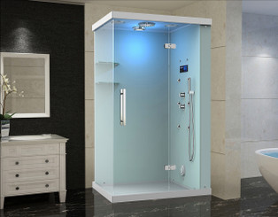 ZA228 Windemere Frameless Glass Rectangular Steam Shower with 6 Body Jets