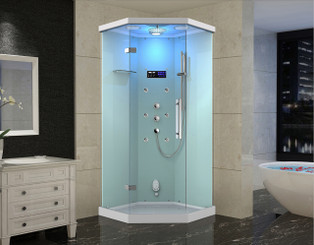 ZA226 Alamere Frameless Glass Neo-Angle Steam Shower with 6 Body Jets