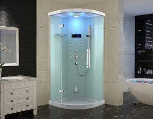 ZA231 Grandmere Frameless Glass Neo-Round Steam Shower with 6 Body Jets
