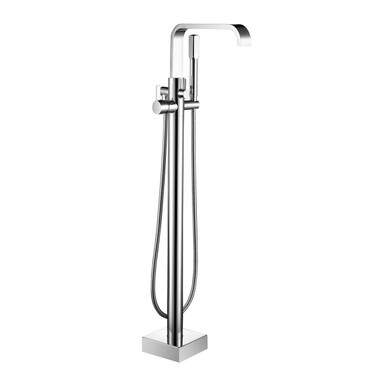 braxton floor mounted tub filler geometric faucet with hand shower