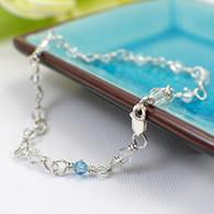 Something Blue anklet wedding bridal sterling silver