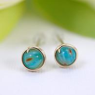 Small turquoise millefiori glass post earrings