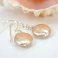 Pink coin pearl earrings sterling silver