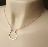 Horseshoe pendant necklace copper