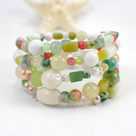 Pink & white flowers memory wire wide bracelet