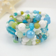 Margarita memory wire wide bracelet aqua & lime