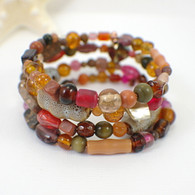 Autumn harvest memory wire wide bracelet