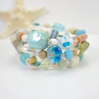 Ocean breeze memory wire wide bracelet