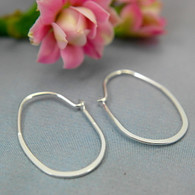 Sterling silver flat oval hoop earrings small