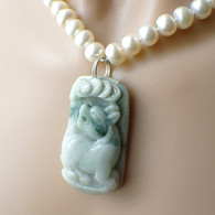 Chinese jade carved dog pendant pearl necklace