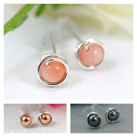 Tiny gemstone post earrings sterling silver
