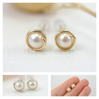 Small white pearl post earrings