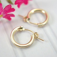 14k gold filled hollow hoop earrings 13mm
