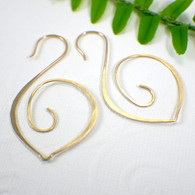Swan hoop earrings 14k gold filled large