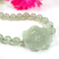 Jade carved flower choker beaded hand knotted sterling silver